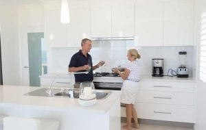 couple talking in the kitchen Builders Bundaberg