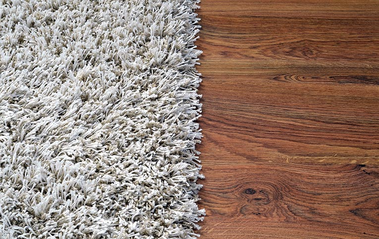 carpet and wood side by side