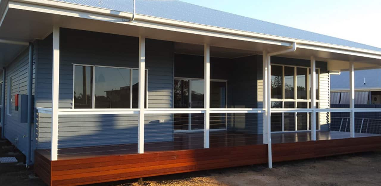 front of home with decking
