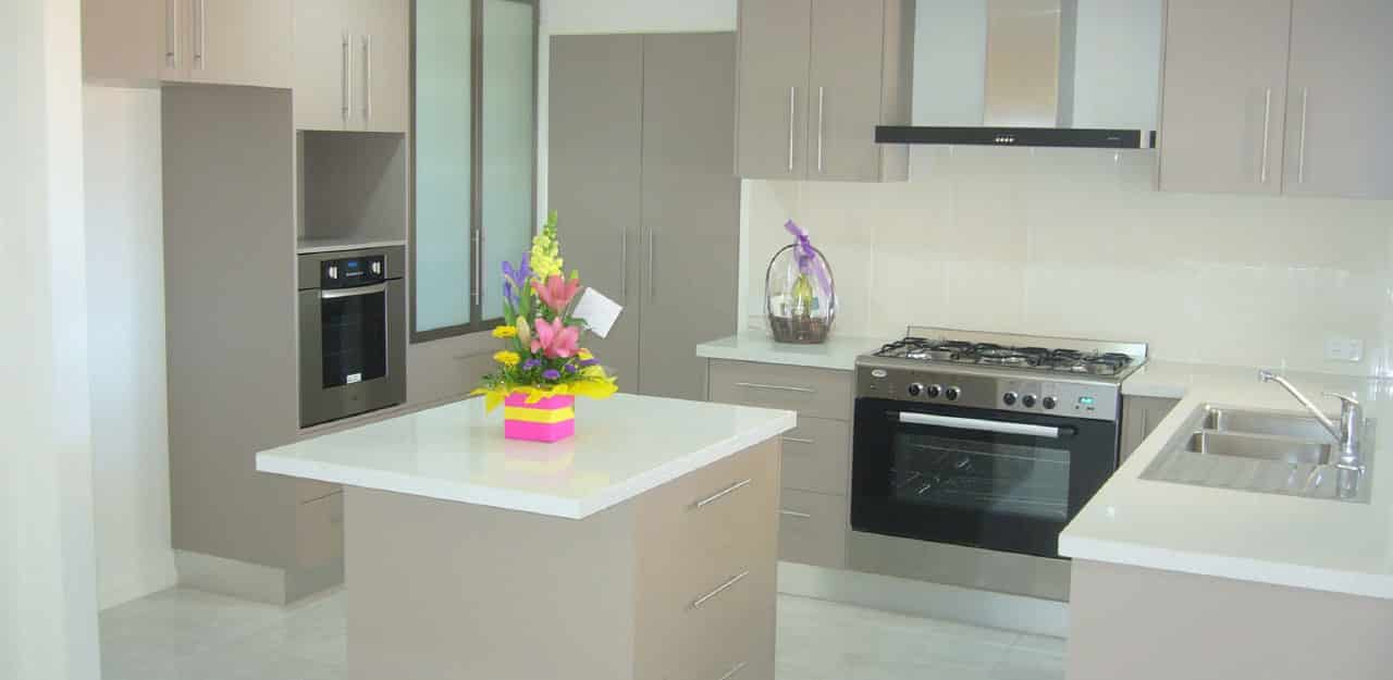 modern kitchen with a pink flowervase