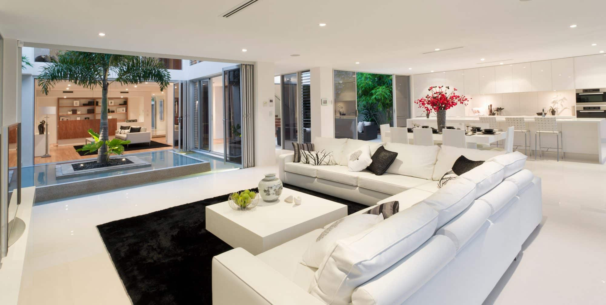 living room modern white
